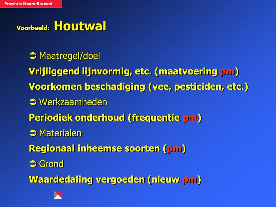 Voorbeeld: Houtwal  Maatregel/doel Vrijliggend lijnvormig, etc. (maatvoering pm) Voorkomen beschadiging (vee, pesticiden, etc.)  Werkzaamheden Perio