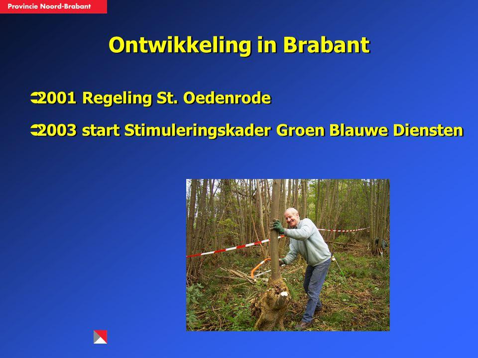 Ontwikkeling in Brabant  2001 Regeling St. Oedenrode  2003 start Stimuleringskader Groen Blauwe Diensten  2001 Regeling St. Oedenrode  2003 start