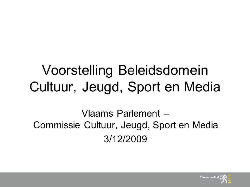 Voorstelling Beleidsdomein Cultuur, Jeugd, Sport en Media Vlaams Parlement – Commissie Cultuur, Jeugd, Sport en Media 3/12/2009