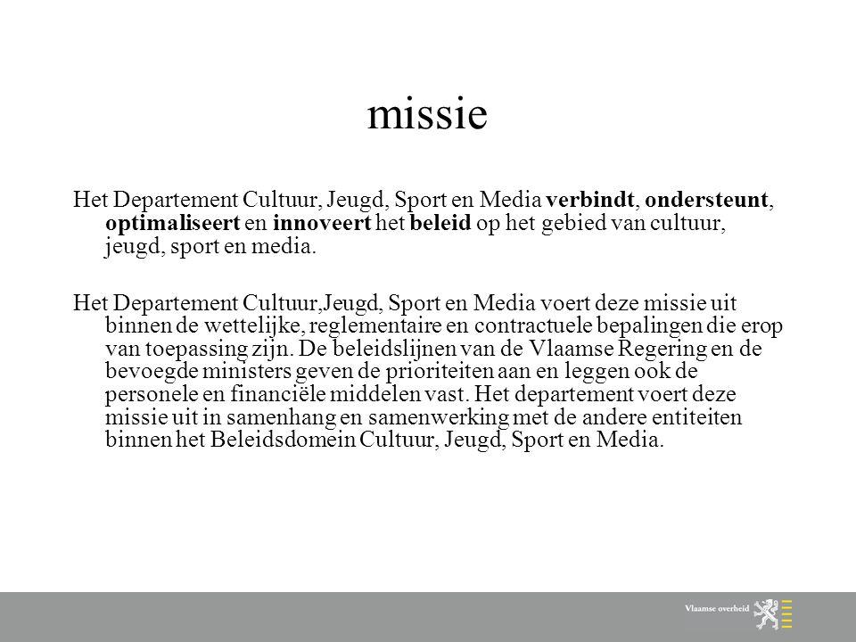 missie Het Departement Cultuur, Jeugd, Sport en Media verbindt, ondersteunt, optimaliseert en innoveert het beleid op het gebied van cultuur, jeugd, sport en media.