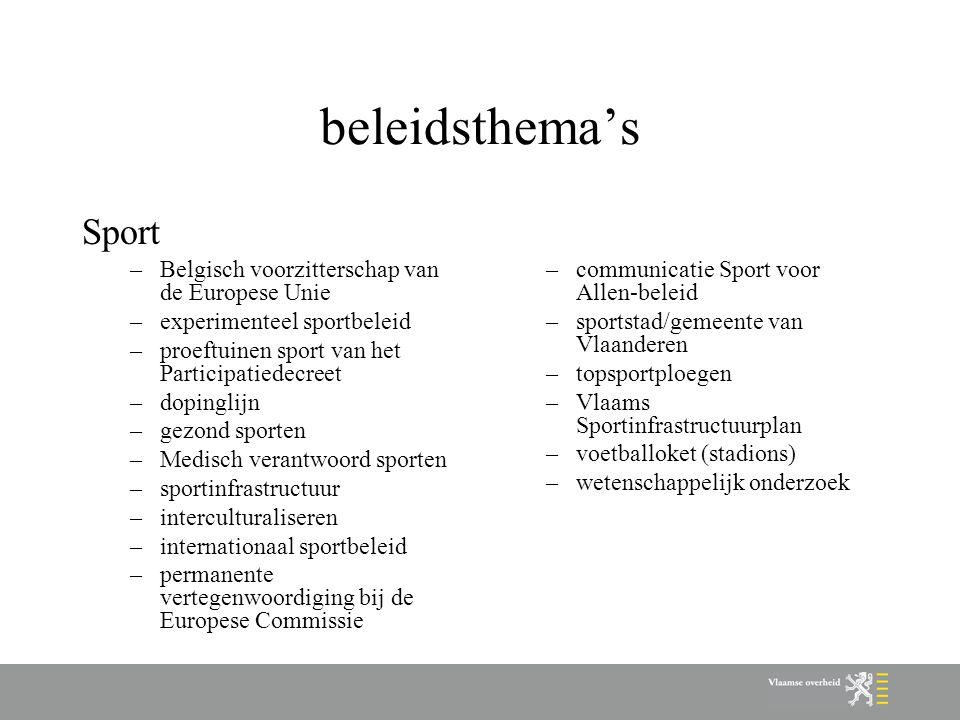 beleidsthema's Sport –Belgisch voorzitterschap van de Europese Unie –experimenteel sportbeleid –proeftuinen sport van het Participatiedecreet –dopingl