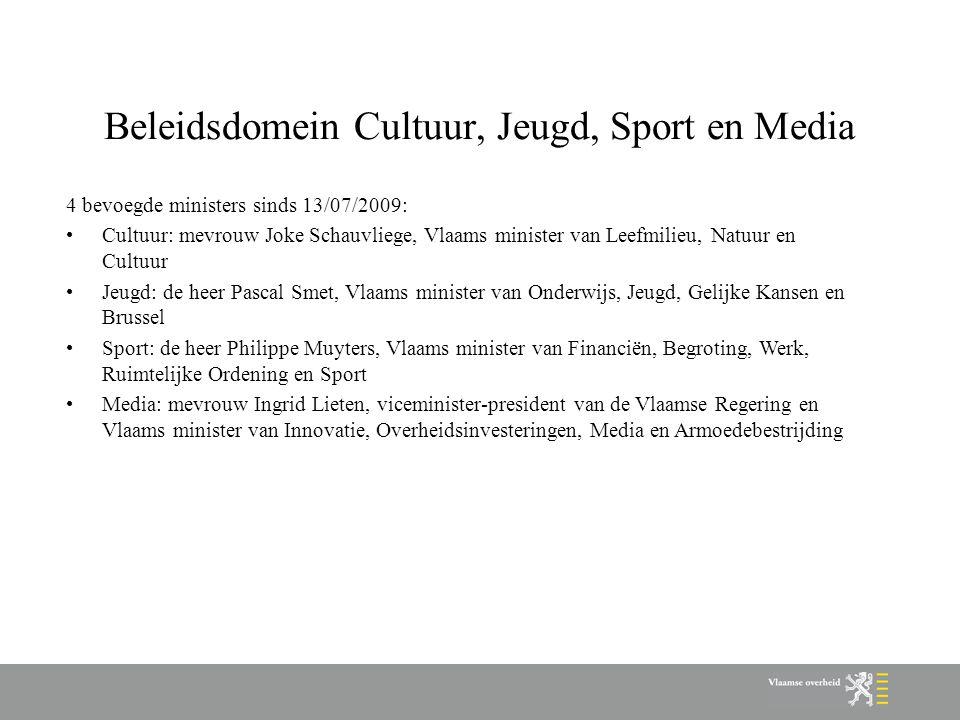Beleidsdomein Cultuur, Jeugd, Sport en Media 4 bevoegde ministers sinds 13/07/2009: Cultuur: mevrouw Joke Schauvliege, Vlaams minister van Leefmilieu,