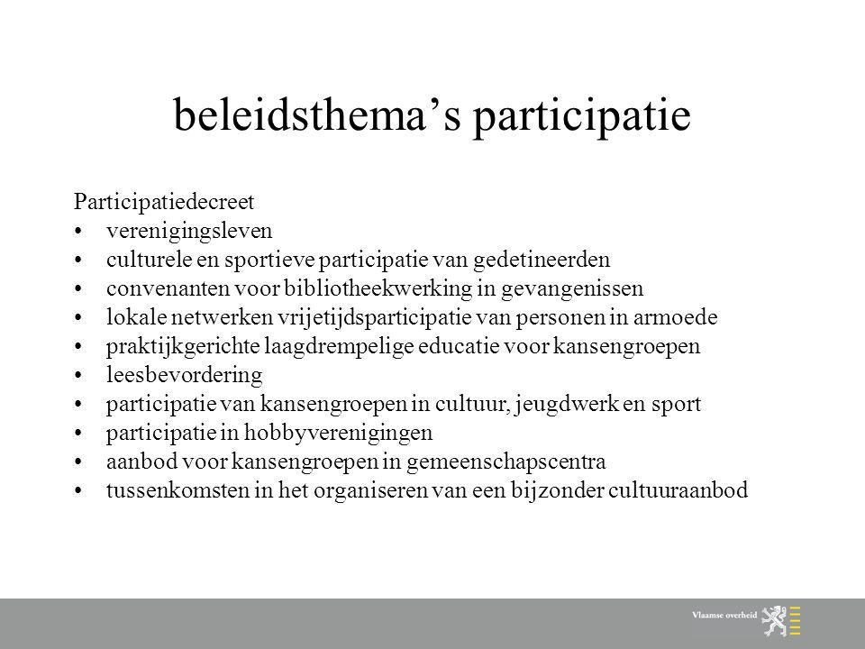 beleidsthema's participatie Participatiedecreet verenigingsleven culturele en sportieve participatie van gedetineerden convenanten voor bibliotheekwerking in gevangenissen lokale netwerken vrijetijdsparticipatie van personen in armoede praktijkgerichte laagdrempelige educatie voor kansengroepen leesbevordering participatie van kansengroepen in cultuur, jeugdwerk en sport participatie in hobbyverenigingen aanbod voor kansengroepen in gemeenschapscentra tussenkomsten in het organiseren van een bijzonder cultuuraanbod
