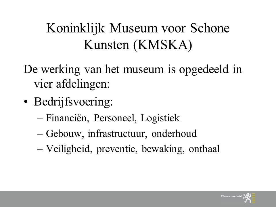 Koninklijk Museum voor Schone Kunsten (KMSKA) De werking van het museum is opgedeeld in vier afdelingen: Bedrijfsvoering: –Financiën, Personeel, Logistiek –Gebouw, infrastructuur, onderhoud –Veiligheid, preventie, bewaking, onthaal