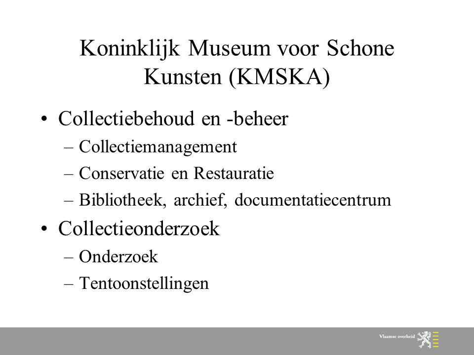 Koninklijk Museum voor Schone Kunsten (KMSKA) Collectiebehoud en -beheer –Collectiemanagement –Conservatie en Restauratie –Bibliotheek, archief, documentatiecentrum Collectieonderzoek –Onderzoek –Tentoonstellingen