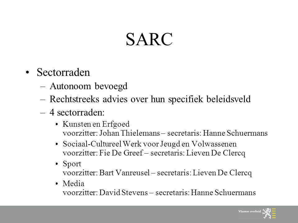 SARC Sectorraden –Autonoom bevoegd –Rechtstreeks advies over hun specifiek beleidsveld –4 sectorraden: Kunsten en Erfgoed voorzitter: Johan Thielemans