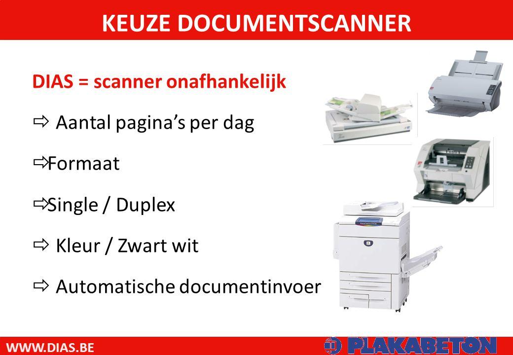 WWW.DIAS.BE DIAS = scanner onafhankelijk  Aantal pagina's per dag  Formaat  Single / Duplex  Kleur / Zwart wit  Automatische documentinvoer KEUZE DOCUMENTSCANNER