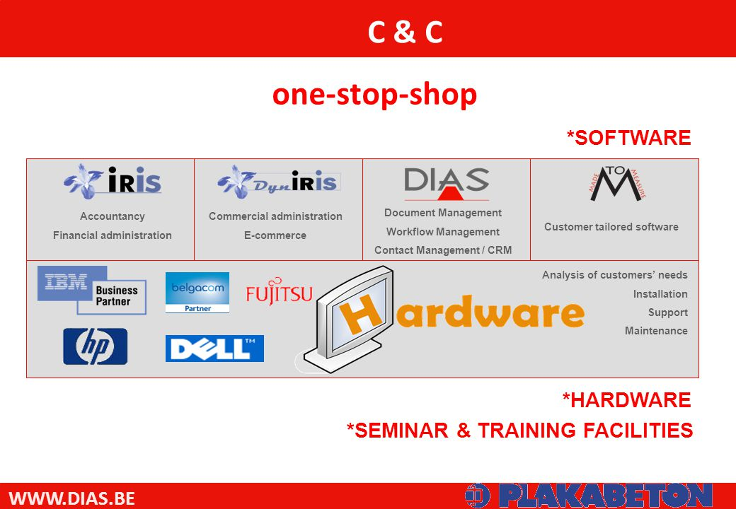 WWW.DIAS.BE C & C *SOFTWARE *HARDWARE Commercial administration E-commerce Document Management Workflow Management Contact Management / CRM Customer tailored software Analysis of customers' needs Installation Support Maintenance Accountancy Financial administration one-stop-shop *SEMINAR & TRAINING FACILITIES