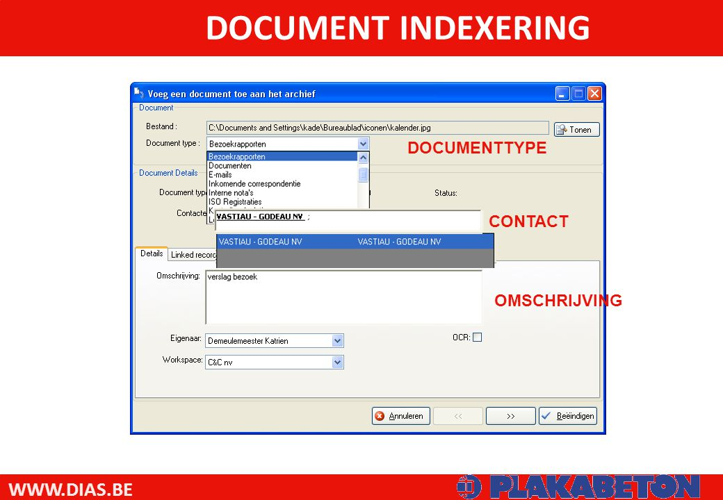 DOCUMENT INDEXERING DOCUMENTTYPE CONTACT OMSCHRIJVING
