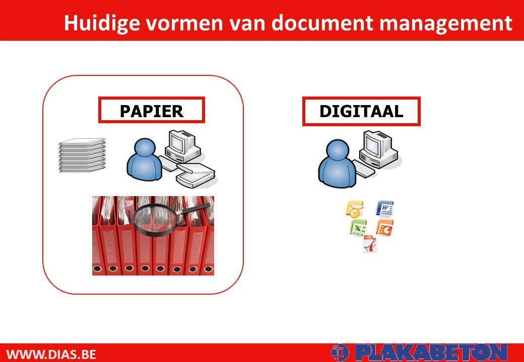WWW.DIAS.BE Huidige vormen van document management DIGITAALPAPIER