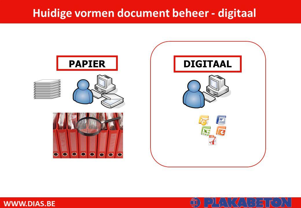 WWW.DIAS.BE DIGITAALPAPIER Huidige vormen document beheer - digitaal
