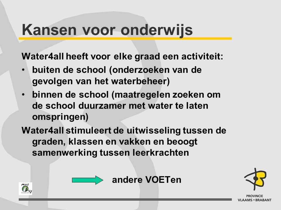 Kansen voor onderwijs Water4all heeft voor elke graad een activiteit: buiten de school (onderzoeken van de gevolgen van het waterbeheer) binnen de sch