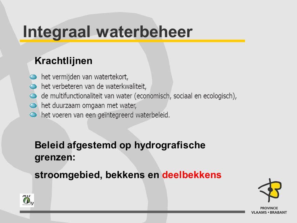 Integraal waterbeheer Krachtlijnen Beleid afgestemd op hydrografische grenzen: stroomgebied, bekkens en deelbekkens