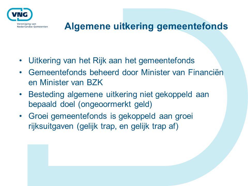 Algemene uitkering gemeentefonds Uitkering van het Rijk aan het gemeentefonds Gemeentefonds beheerd door Minister van Financiën en Minister van BZK Be