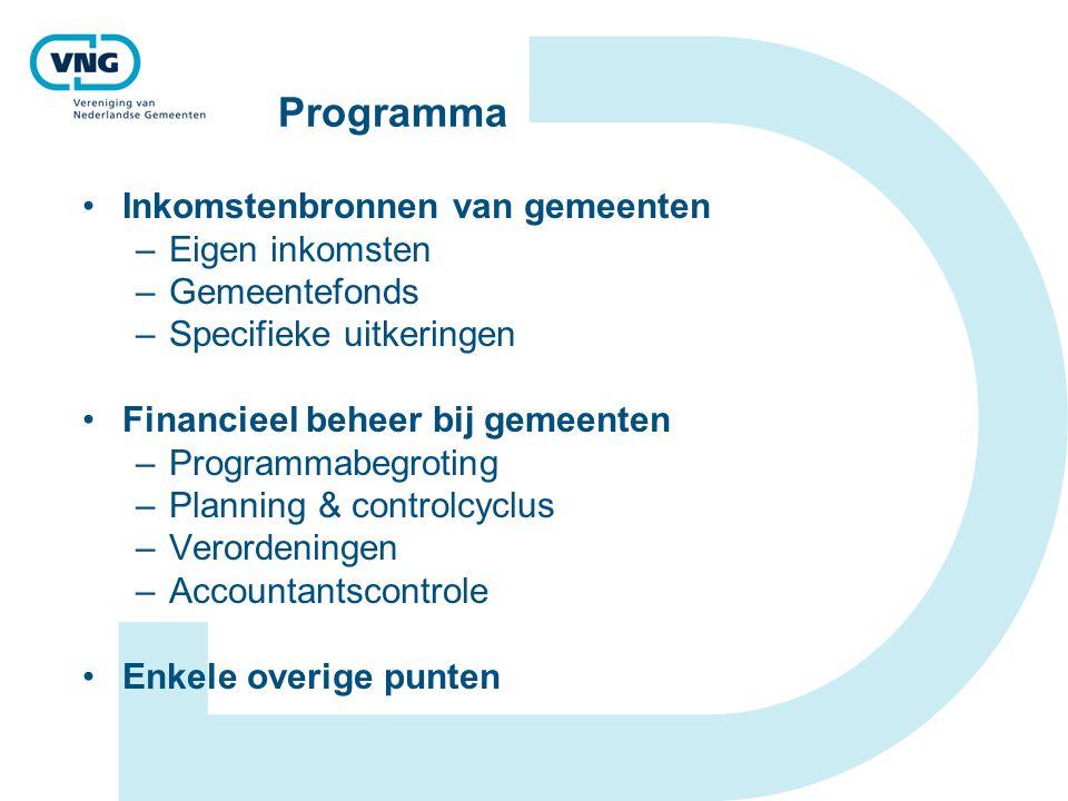 Programma Inkomstenbronnen van gemeenten –Eigen inkomsten –Gemeentefonds –Specifieke uitkeringen Financieel beheer bij gemeenten –Programmabegroting –