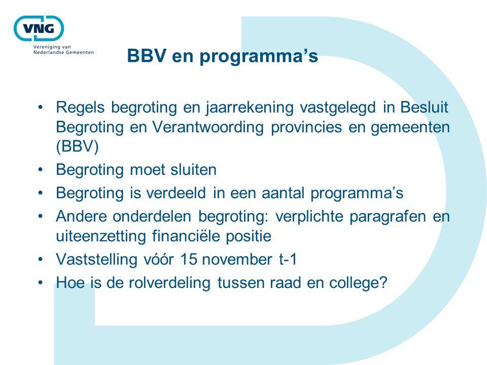 BBV en programma's Regels begroting en jaarrekening vastgelegd in Besluit Begroting en Verantwoording provincies en gemeenten (BBV) Begroting moet slu