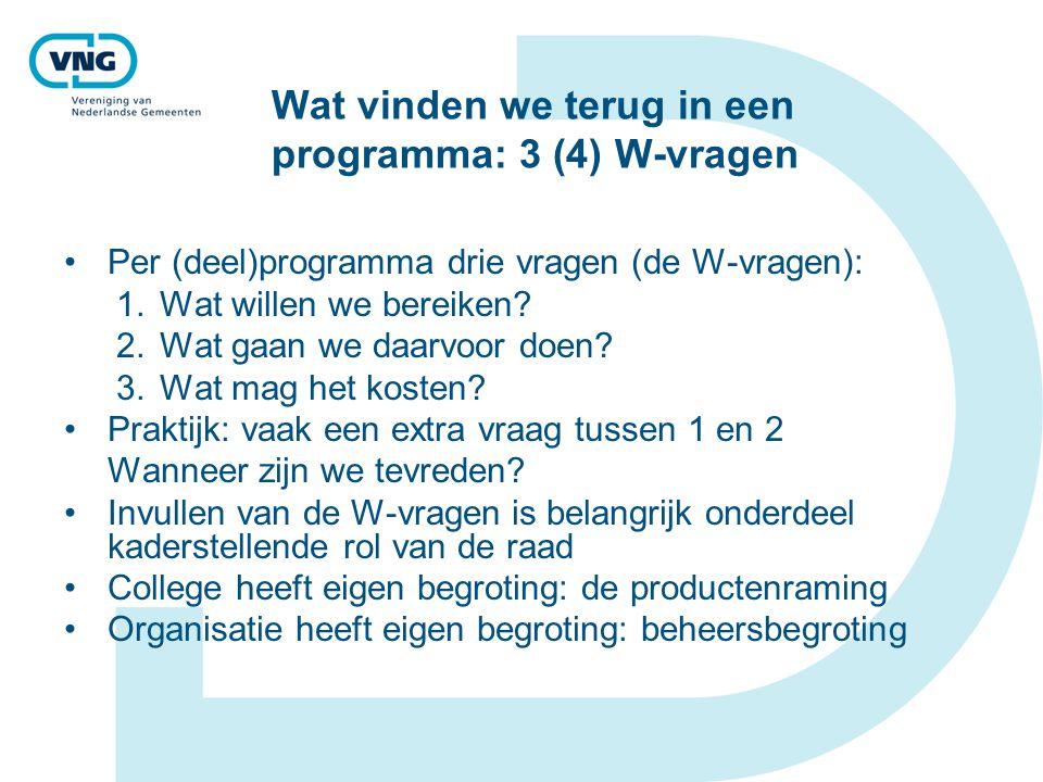 Wat vinden we terug in een programma: 3 (4) W-vragen Per (deel)programma drie vragen (de W-vragen): 1.Wat willen we bereiken? 2.Wat gaan we daarvoor d