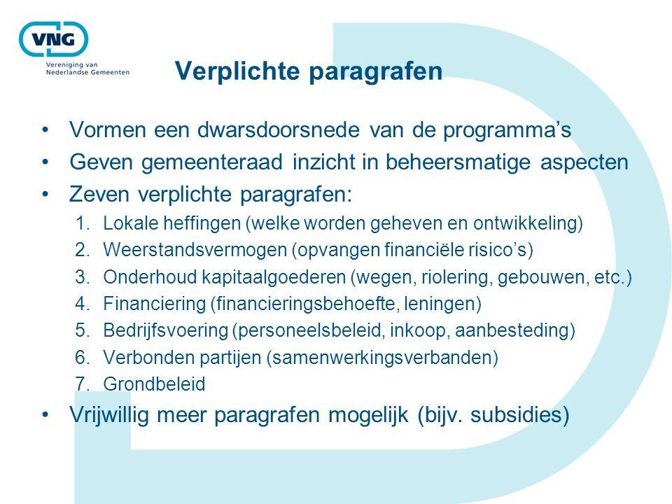 Verplichte paragrafen Vormen een dwarsdoorsnede van de programma's Geven gemeenteraad inzicht in beheersmatige aspecten Zeven verplichte paragrafen: 1
