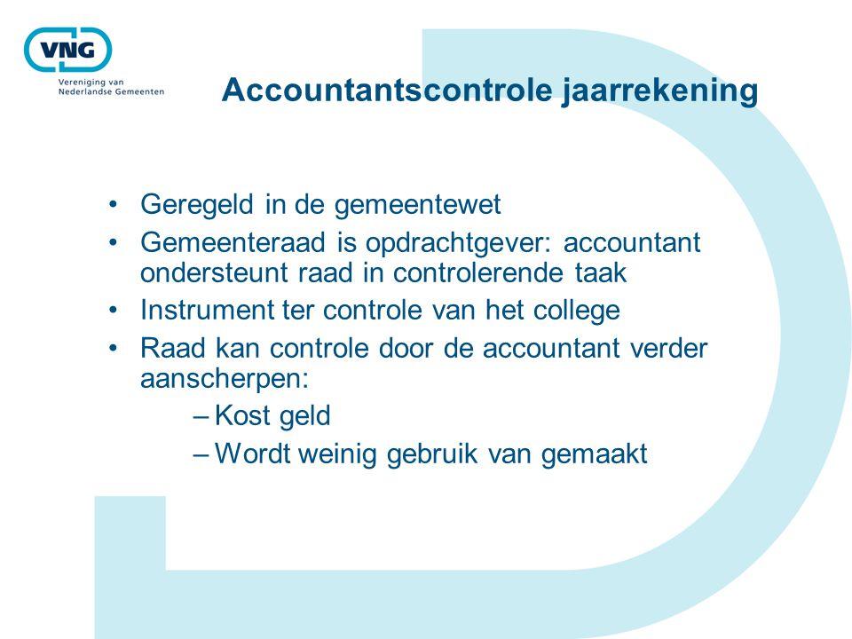 Accountantscontrole jaarrekening Geregeld in de gemeentewet Gemeenteraad is opdrachtgever: accountant ondersteunt raad in controlerende taak Instrumen