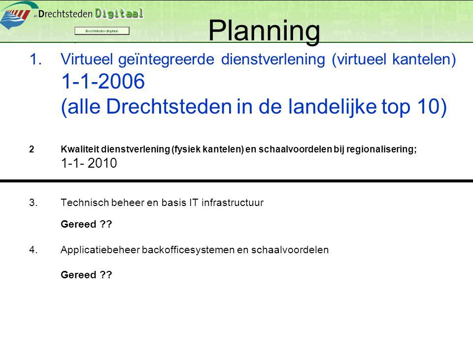 Planning 1.Virtueel geïntegreerde dienstverlening (virtueel kantelen) 1-1-2006 (alle Drechtsteden in de landelijke top 10) 2Kwaliteit dienstverlening (fysiek kantelen) en schaalvoordelen bij regionalisering; 1-1- 2010 3.Technisch beheer en basis IT infrastructuur Gereed ?.