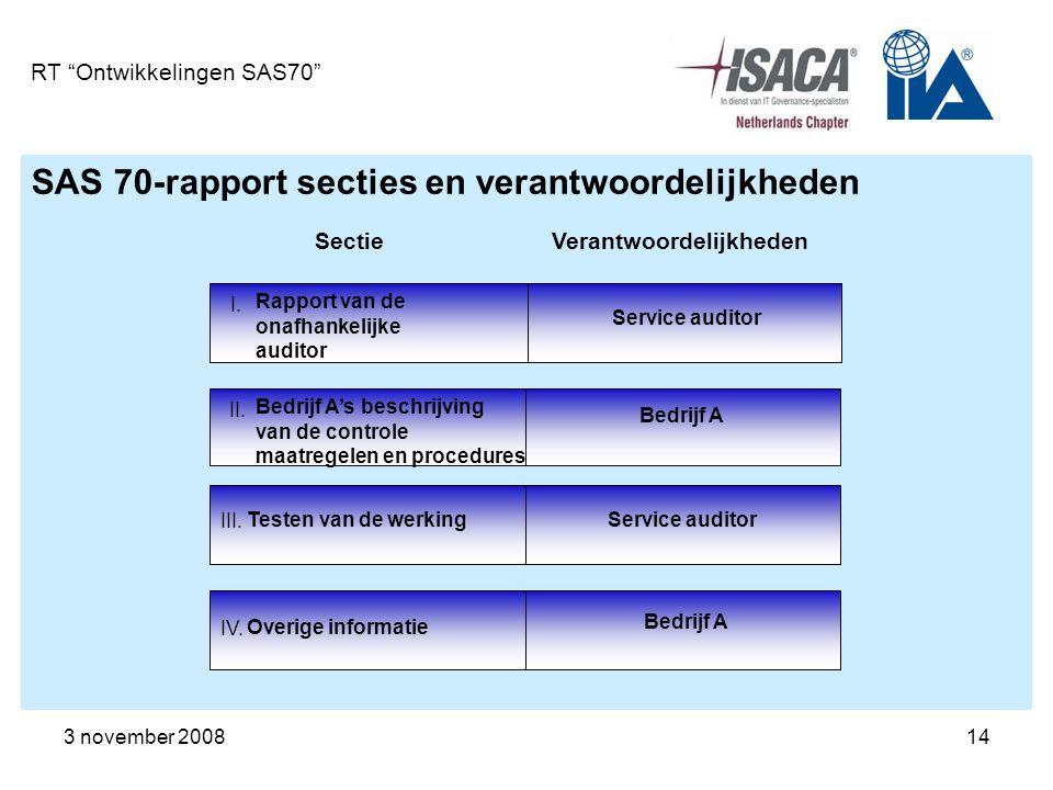 """3 november 200814 RT """"Ontwikkelingen SAS70"""" SAS 70-rapport secties en verantwoordelijkheden SectieVerantwoordelijkheden Rapport van de onafhankelijke"""