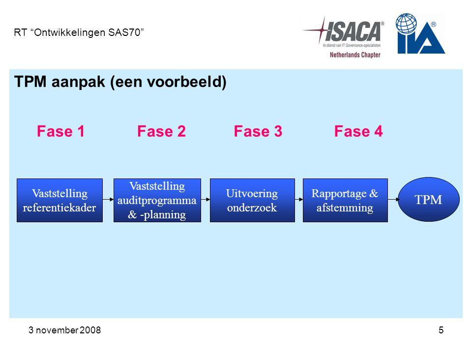 3 november 200816 RT Ontwikkelingen SAS70 Totstandkoming SAS70 rapport Fase 3 Doorvo eren verbete ringen Fase 2 Beschri jven service- organis atie Type I of Type II Verklaring Fase 1 Uitvoer en impacta nalyse Fase 4 Uitvoer en SAS 70- audit ca.