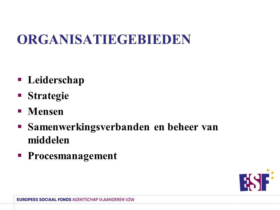 Leiderschap Missie, visie, en waarden Betrokkenheid van de leidinggevende(n) op de medewerkers De organisatie- inrichting Resultaten 6-7-8-9