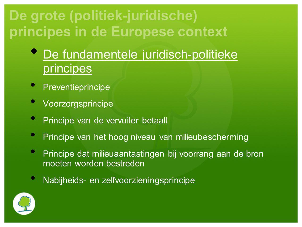 De grote (politiek-juridische) principes in de Europese context De fundamentele juridisch-politieke principes Preventieprincipe Voorzorgsprincipe Prin