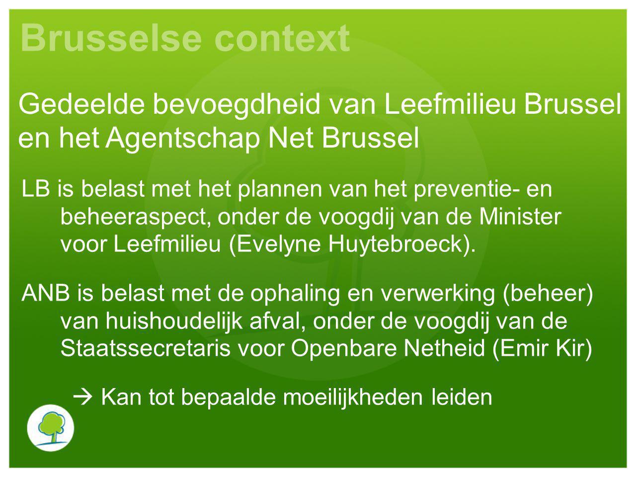 Brusselse context LB is belast met het plannen van het preventie- en beheeraspect, onder de voogdij van de Minister voor Leefmilieu (Evelyne Huytebroeck).