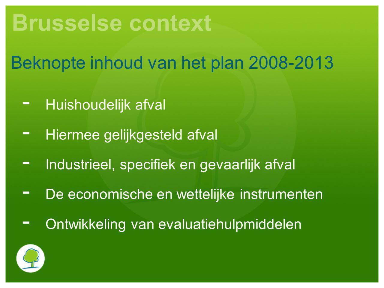Brusselse context - Huishoudelijk afval - Hiermee gelijkgesteld afval - Industrieel, specifiek en gevaarlijk afval - De economische en wettelijke instrumenten - Ontwikkeling van evaluatiehulpmiddelen Beknopte inhoud van het plan 2008-2013