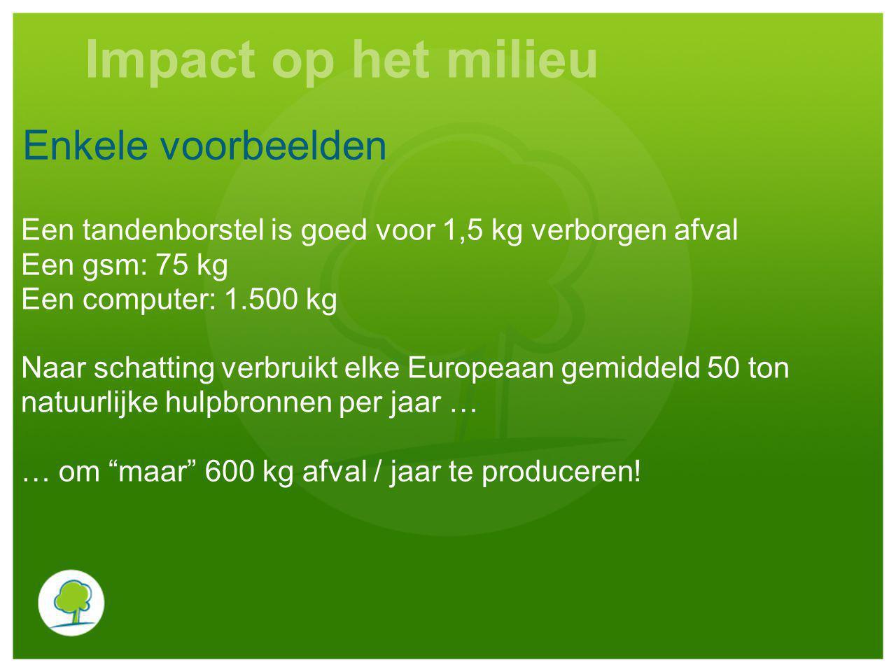 Enkele voorbeelden Een tandenborstel is goed voor 1,5 kg verborgen afval Een gsm: 75 kg Een computer: 1.500 kg Naar schatting verbruikt elke Europeaan gemiddeld 50 ton natuurlijke hulpbronnen per jaar … … om maar 600 kg afval / jaar te produceren.