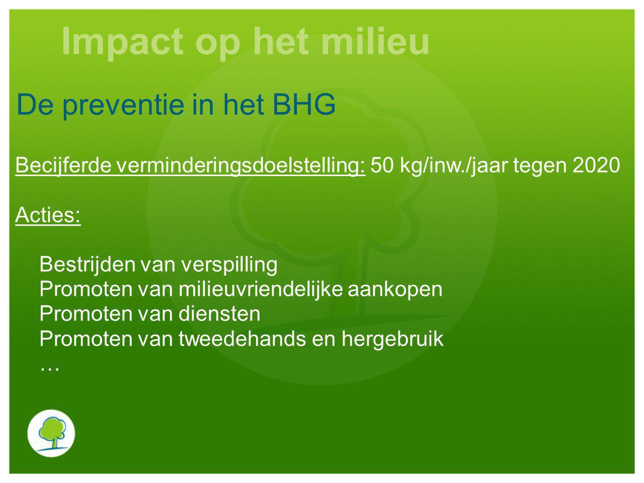 De preventie in het BHG Becijferde verminderingsdoelstelling: 50 kg/inw./jaar tegen 2020 Acties: Bestrijden van verspilling Promoten van milieuvriendelijke aankopen Promoten van diensten Promoten van tweedehands en hergebruik … Impact op het milieu