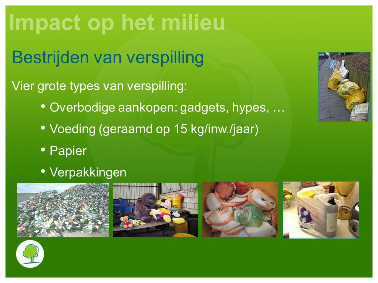 Vier grote types van verspilling: Overbodige aankopen: gadgets, hypes, … Voeding (geraamd op 15 kg/inw./jaar) Papier Verpakkingen Bestrijden van verspilling Impact op het milieu