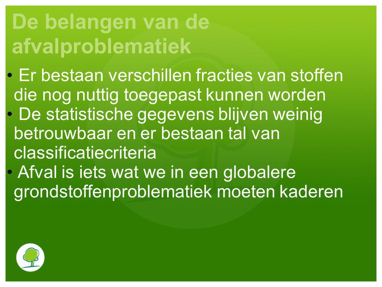 Brusselse context Het gewestelijk afvalstoffenplan: - Bepaalt de richtlijnen op korte, middellange en lange termijn; - Omvat preventie- en beheermaatregelen; - Op dit ogenblik is het 4 de afvalstoffenplan van kracht, dat op 10 maart 2010 werd goedgekeurd.