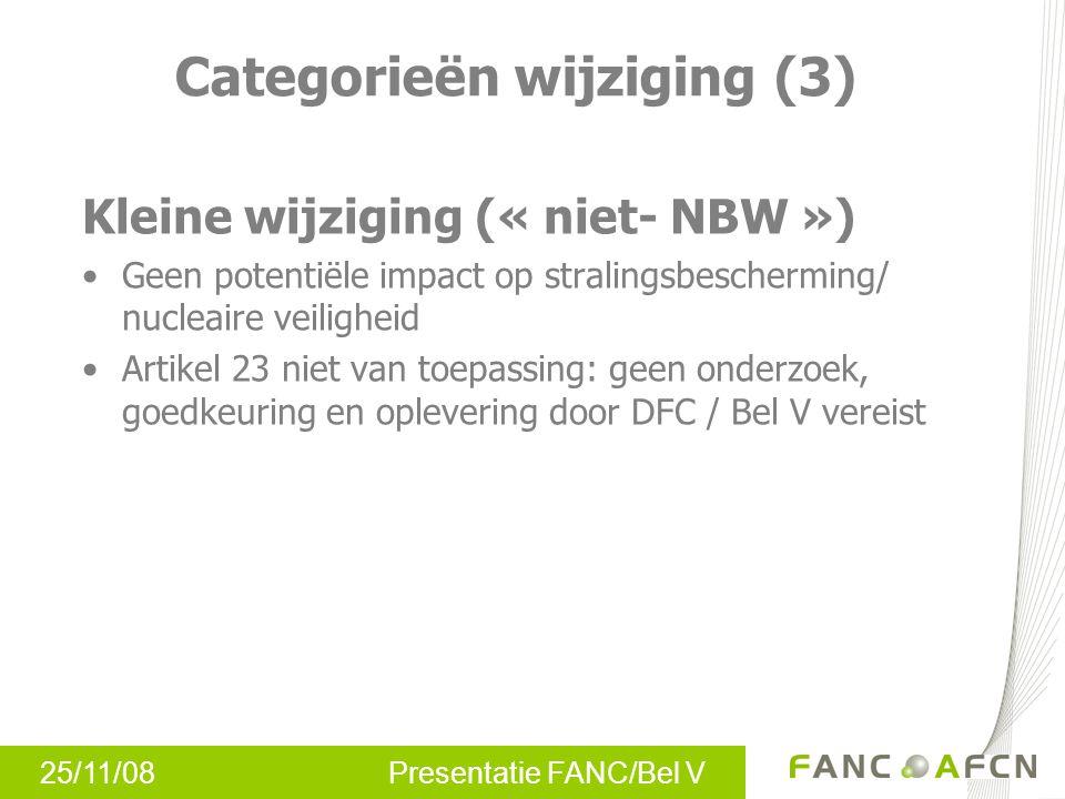 25/11/08 Presentatie FANC/Bel V Procedure beheer wijzigingen Procedure voor elke inrichting –In overleg met Bel V –Rekening houdende met specifieke kenmerken inrichting (bv.