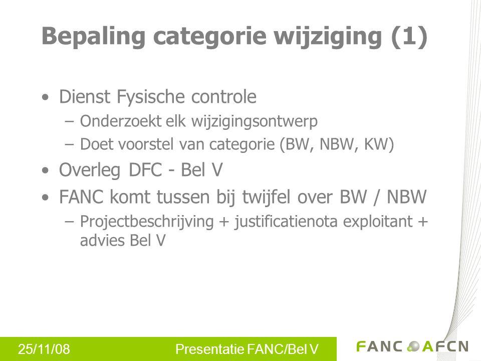25/11/08 Presentatie FANC/Bel V Bepaling categorie wijziging (2)