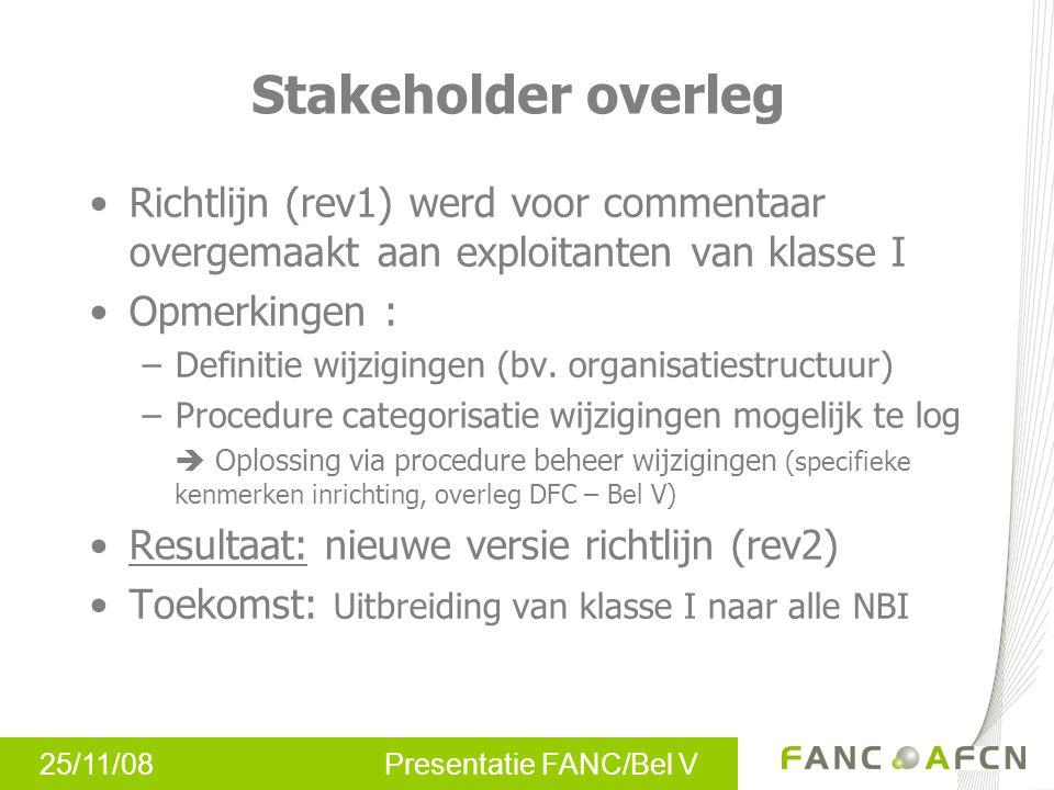 25/11/08 Presentatie FANC/Bel V Stakeholder overleg Richtlijn (rev1) werd voor commentaar overgemaakt aan exploitanten van klasse I Opmerkingen : –Definitie wijzigingen (bv.