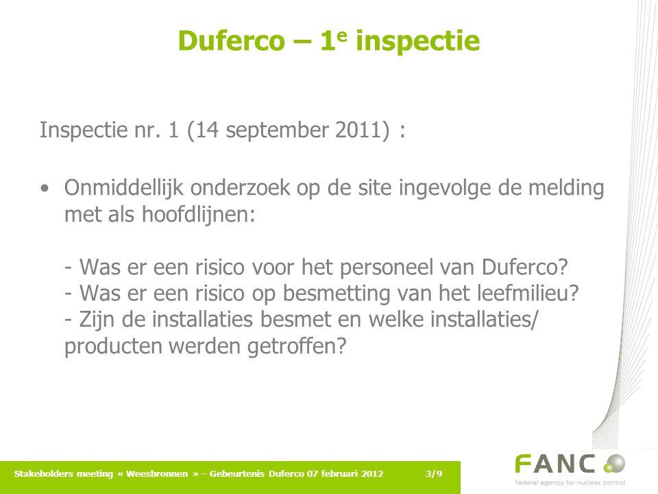 4/9Stakeholders meeting « Weesbronnen » – Gebeurtenis Duferco 07 februari 2012 Duferco – 1 e inspectie Inspectie nr.1 (14 september 2011) : vervolg Overeengekomen acties / gemaakte vaststellingen: - Was er een risico voor het personeel van Duferco.