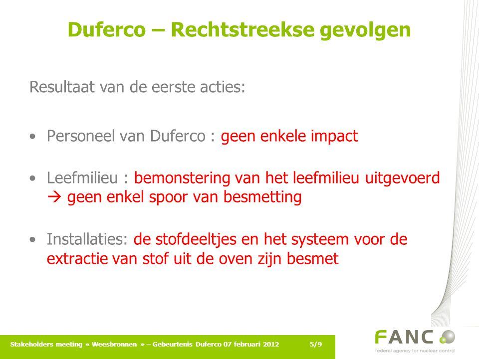6/9Stakeholders meeting « Weesbronnen » – Gebeurtenis Duferco 07 februari 2012 Duferco – Opvolgingsinspecties Inspecties nr.