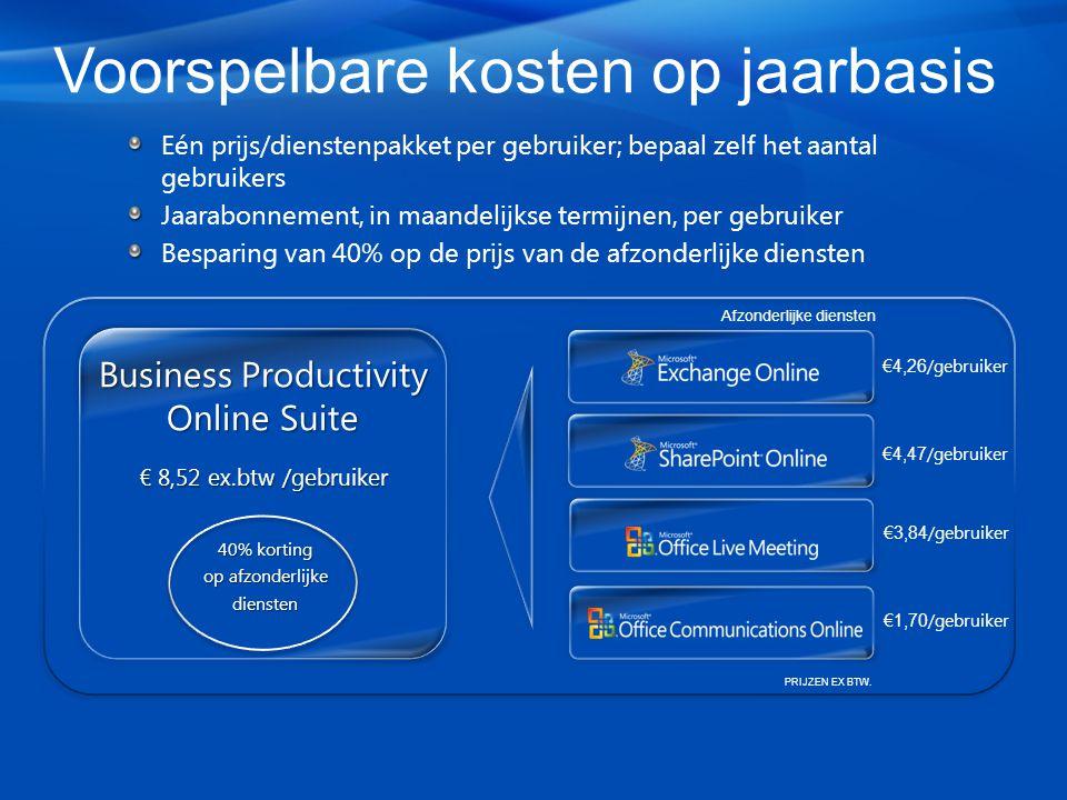 Voorspelbare kosten op jaarbasis Eén prijs/dienstenpakket per gebruiker; bepaal zelf het aantal gebruikers Jaarabonnement, in maandelijkse termijnen, per gebruiker Besparing van 40% op de prijs van de afzonderlijke diensten €4,26 /gebruiker €4,47 /gebruiker €3,84 /gebruiker €1,70 /gebruiker Afzonderlijke diensten Business Productivity Online Suite € 8,52 ex.btw /gebruiker 40% korting op afzonderlijke diensten PRIJZEN EX BTW.