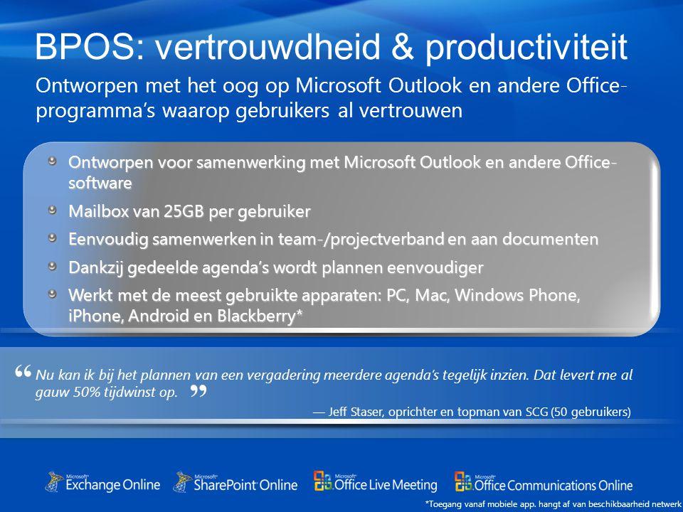 BPOS: vertrouwdheid & productiviteit Ontworpen met het oog op Microsoft Outlook en andere Office- programma's waarop gebruikers al vertrouwen *Toegang vanaf mobiele app.