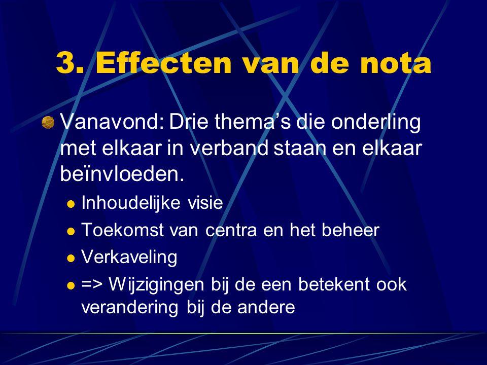 3. Effecten van de nota Vanavond: Drie thema's die onderling met elkaar in verband staan en elkaar beïnvloeden. Inhoudelijke visie Toekomst van centra