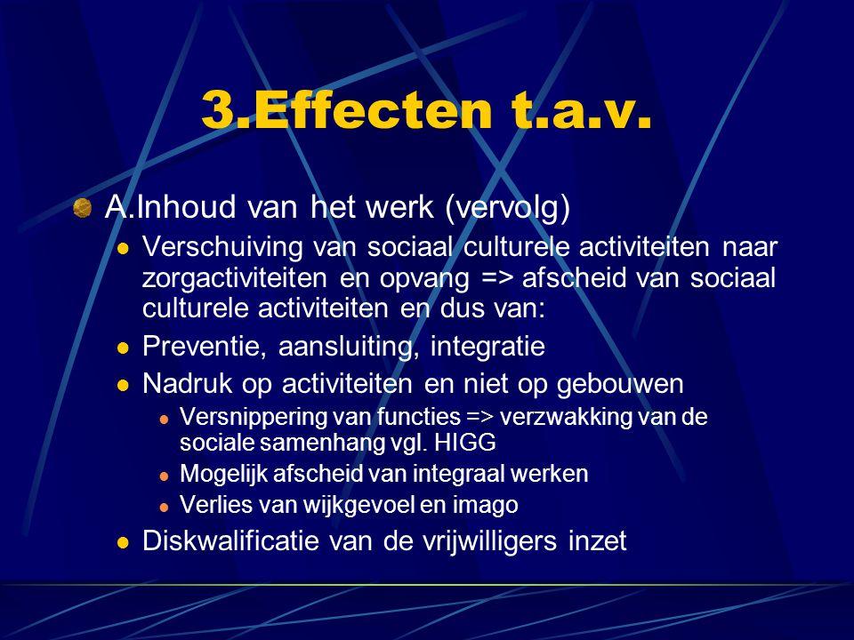 3.Effecten t.a.v. A.Inhoud van het werk (vervolg) Verschuiving van sociaal culturele activiteiten naar zorgactiviteiten en opvang => afscheid van soci