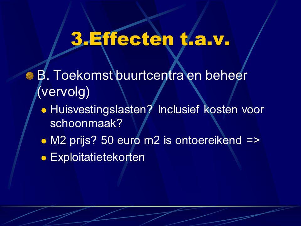 3.Effecten t.a.v. B. Toekomst buurtcentra en beheer (vervolg) Huisvestingslasten.