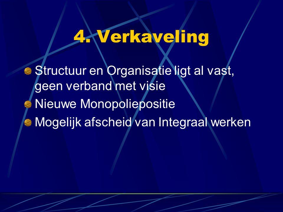 4. Verkaveling Structuur en Organisatie ligt al vast, geen verband met visie Nieuwe Monopoliepositie Mogelijk afscheid van Integraal werken