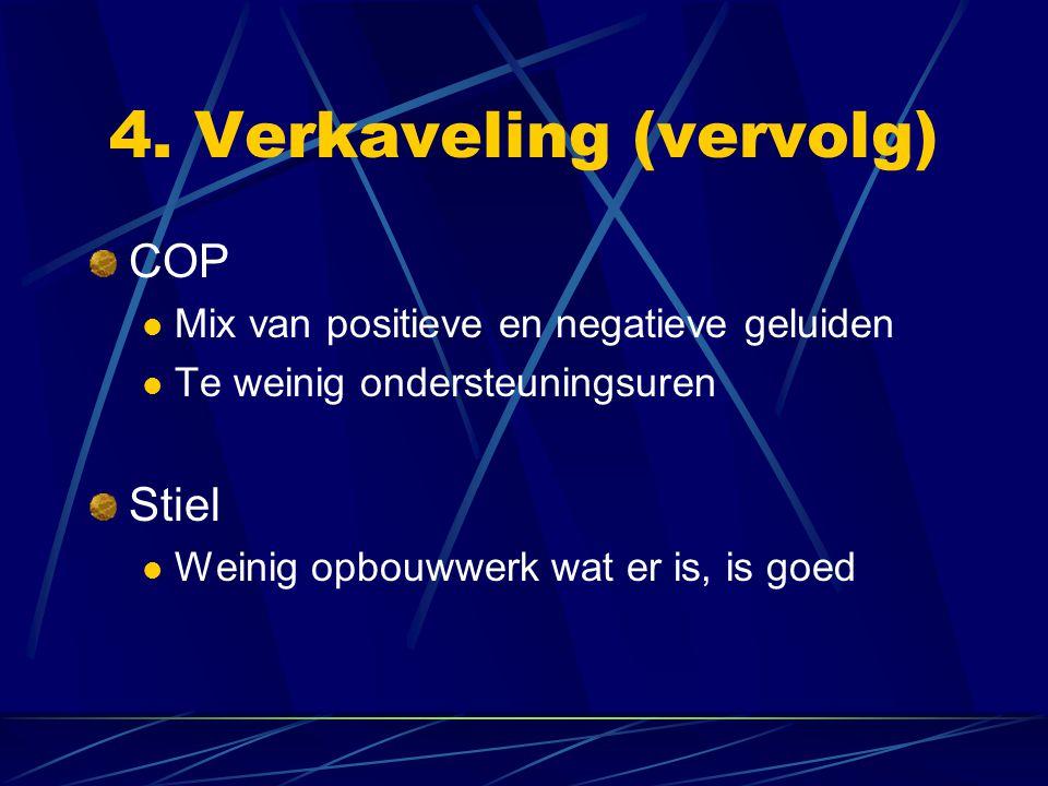 4. Verkaveling (vervolg) COP Mix van positieve en negatieve geluiden Te weinig ondersteuningsuren Stiel Weinig opbouwwerk wat er is, is goed