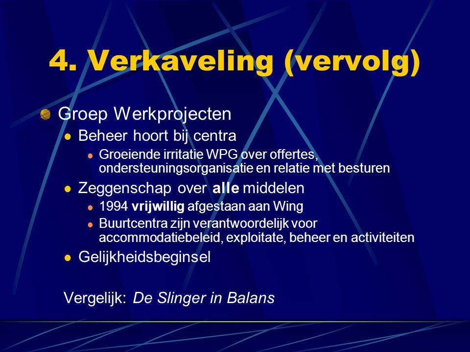 4. Verkaveling (vervolg) Groep Werkprojecten Beheer hoort bij centra Groeiende irritatie WPG over offertes, ondersteuningsorganisatie en relatie met b