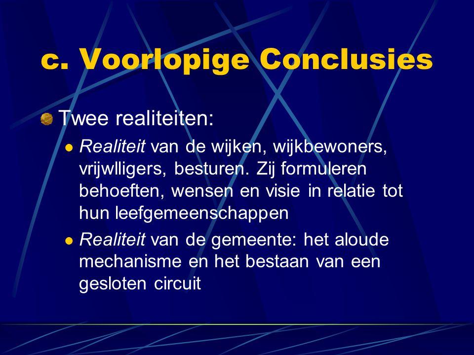 c.Voorlopige Conclusies (vervolg) Vanwege de twee realiteiten => een gesprek tussen doven.