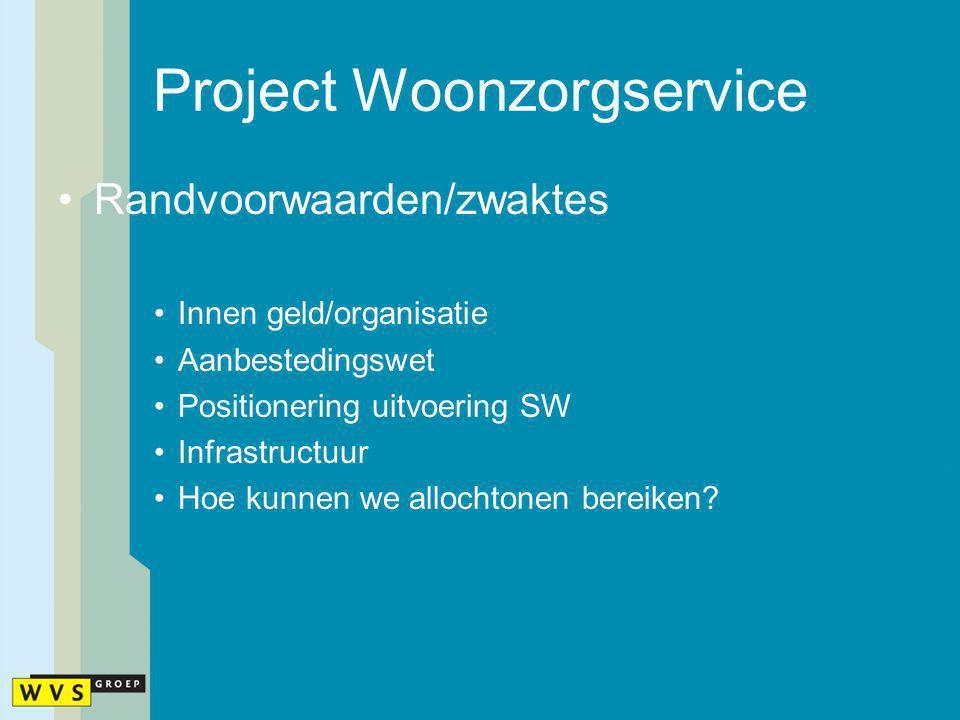 Project Woonzorgservice Randvoorwaarden/zwaktes Innen geld/organisatie Aanbestedingswet Positionering uitvoering SW Infrastructuur Hoe kunnen we alloc
