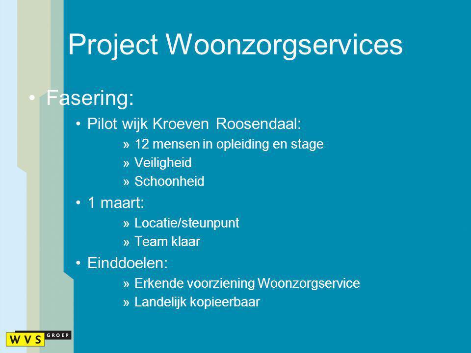 Project Woonzorgservices Fasering: Pilot wijk Kroeven Roosendaal: »12 mensen in opleiding en stage »Veiligheid »Schoonheid 1 maart: »Locatie/steunpunt